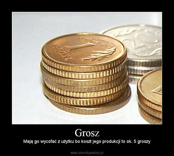 Grosz – Mają go wycofać z użytku bo koszt jego produkcji to ok. 5 groszy