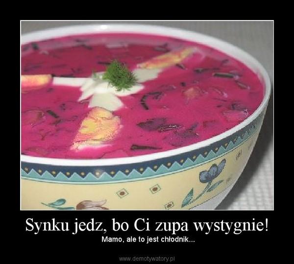 Synku jedz, bo Ci zupa wystygnie! –  Mamo, ale to jest chłodnik...