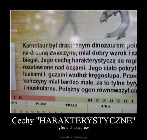 Cechy ''HARAKTERYSTYCZNE'' – tylko u dinozaurów.