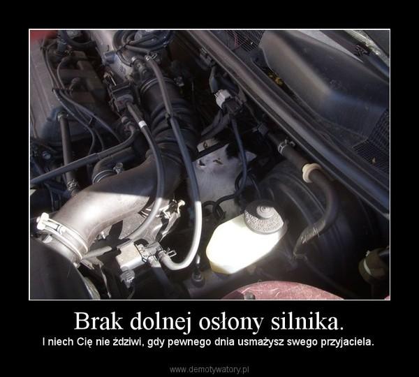 Brak dolnej osłony silnika. – I niech Cię nie ździwi, gdy pewnego dnia usmażysz swego przyjaciela.