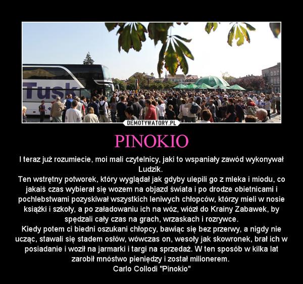 PINOKIO – I teraz już rozumiecie, moi mali czytelnicy, jaki to wspaniały zawód wykonywał Ludzik. \nTen wstrętny potworek, który wyglądał jak gdyby ulepili go z mleka i miodu, co jakaiś czas wybierał się wozem na objazd świata i po drodze obietnicami i pochlebstwami
