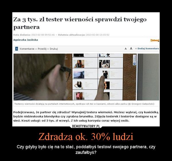 Zdradza ok. 30% ludzi – Czy gdyby było cię na to stać, poddałbyś testowi swojego partnera, czy zaufałbyś?