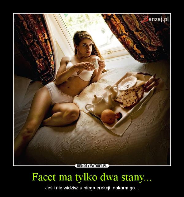 Facet ma tylko dwa stany... – Jeśli nie widzisz u niego erekcji, nakarm go...