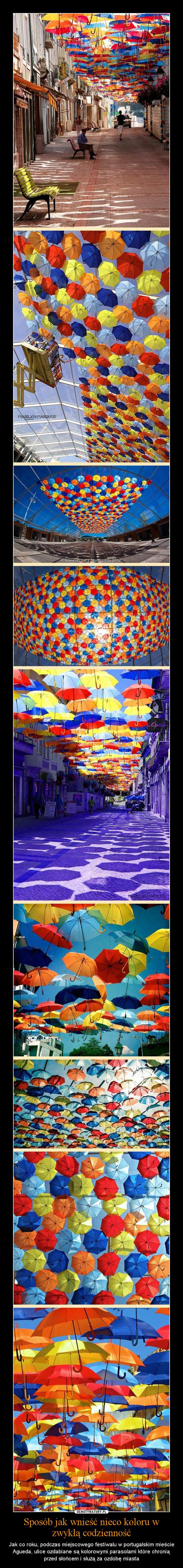 Sposób jak wnieść nieco koloru w zwykłą codzienność – Jak co roku, podczas miejscowego festiwalu w portugalskim mieście Agueda, ulice ozdabiane są kolorowymi parasolami które chronią przed słońcem i służą za ozdobę miasta