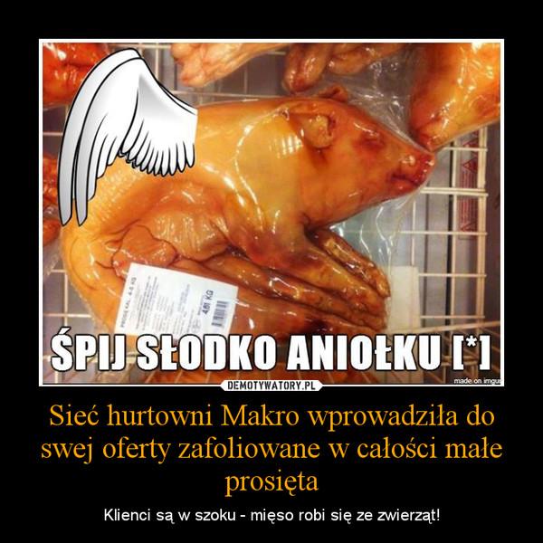 Sieć hurtowni Makro wprowadziła do swej oferty zafoliowane w całości małe prosięta – Klienci są w szoku - mięso robi się ze zwierząt!