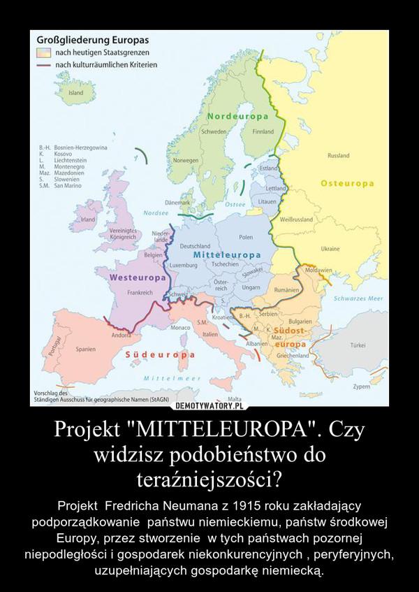 """Projekt """"MITTELEUROPA"""". Czy widzisz podobieństwo do teraźniejszości? – Projekt  Fredricha Neumana z 1915 roku zakładający podporządkowanie  państwu niemieckiemu, państw środkowej Europy, przez stworzenie  w tych państwach pozornej niepodległości i gospodarek niekonkurencyjnych , peryferyjnych, uzupełniających gospodarkę niemiecką."""