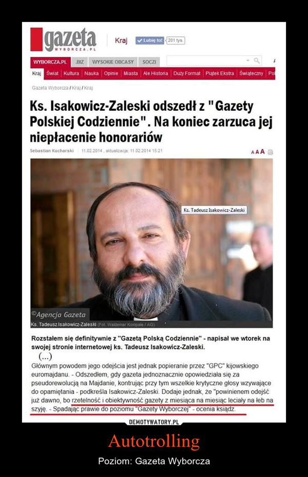 Autotrolling – Poziom: Gazeta Wyborcza