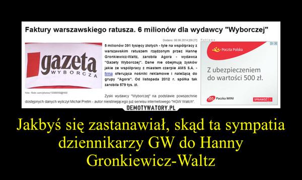 Jakbyś się zastanawiał, skąd ta sympatia dziennikarzy GW do Hanny Gronkiewicz-Waltz –