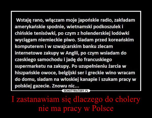 I zastanawiam się dlaczego do cholery nie ma pracy w Polsce –