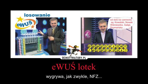 eWUŚ lotek – wygrywa, jak zwykle, NFZ...
