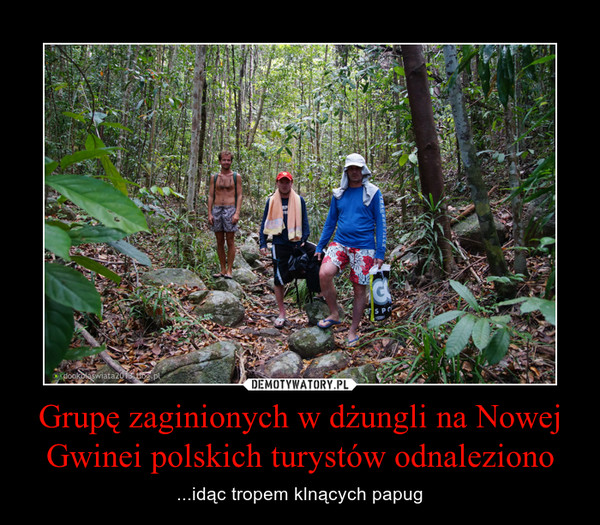 Grupę zaginionych w dżungli na Nowej Gwinei polskich turystów odnaleziono – ...idąc tropem klnących papug