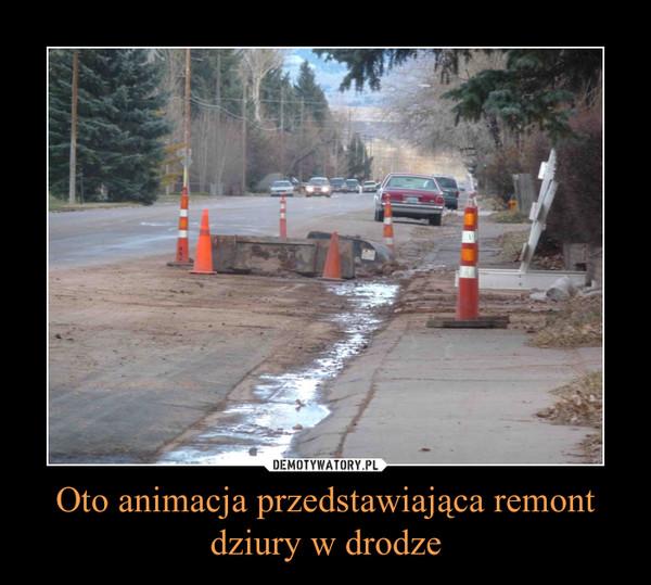 Oto animacja przedstawiająca remont dziury w drodze –