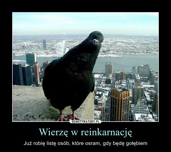 Wierzę w reinkarnację – Już robię listę osób, które osram, gdy będę gołębiem