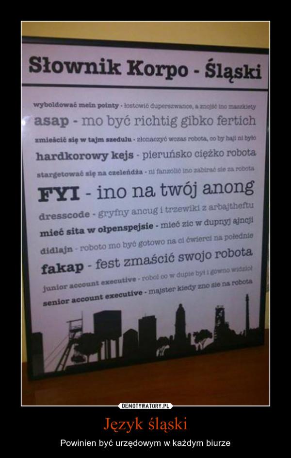 Język śląski – Powinien być urzędowym w każdym biurze