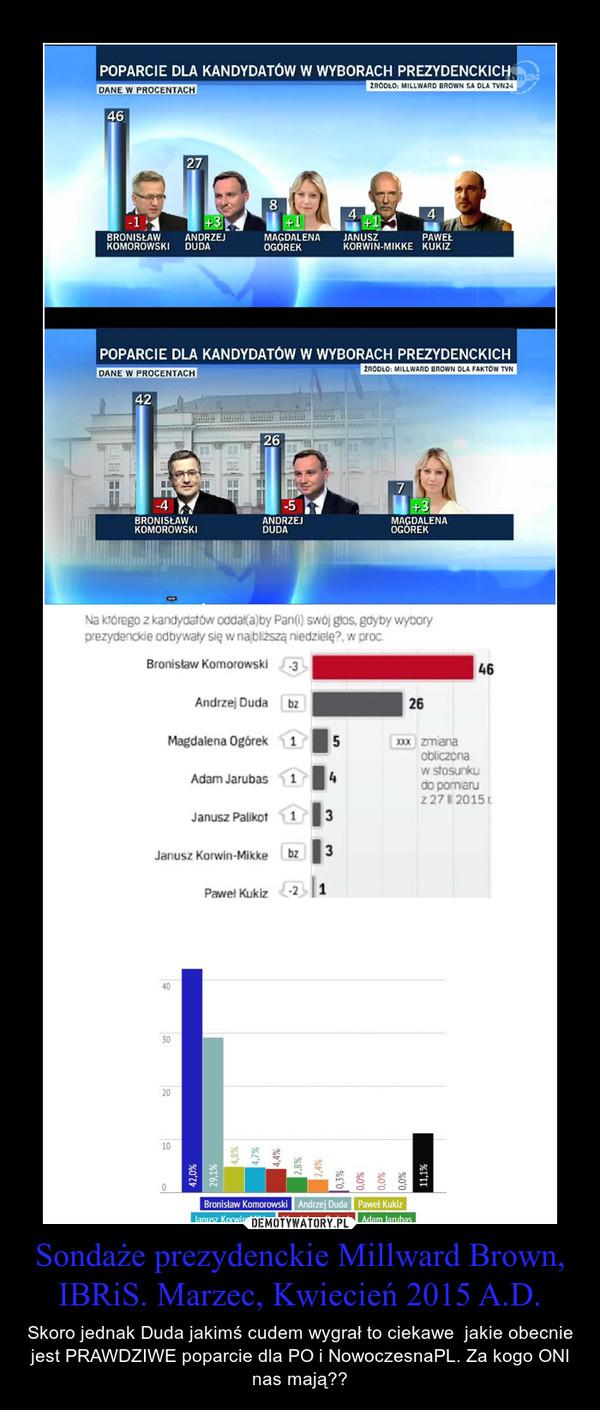 Sondaże prezydenckie Millward Brown, IBRiS. Marzec, Kwiecień 2015 A.D. – Skoro jednak Duda jakimś cudem wygrał to ciekawe  jakie obecnie jest PRAWDZIWE poparcie dla PO i NowoczesnaPL. Za kogo ONI nas mają??