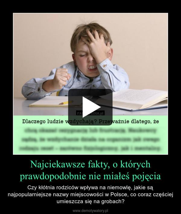 Najciekawsze fakty, o którychprawdopodobnie nie miałeś pojęcia – Czy kłótnia rodziców wpływa na niemowlę, jakie są najpopularniejsze nazwy miejscowości w Polsce, co coraz częściej umieszcza się na grobach?