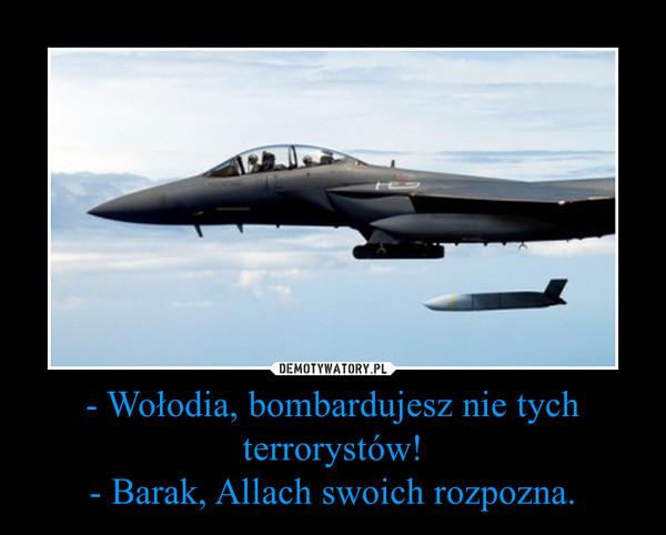 - Wołodia, bombardujesz nie tych terrorystów!- Barak, Allach swoich rozpozna. –