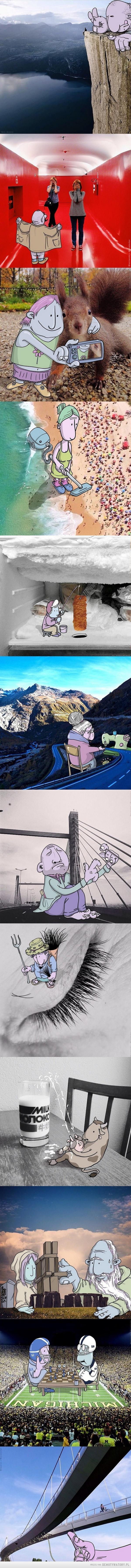 Lucas Levitan dodaje animowane postacie do zdjęć, które całkowicie zmieniają sens fotografii i opowiadają nową historię.#2 –