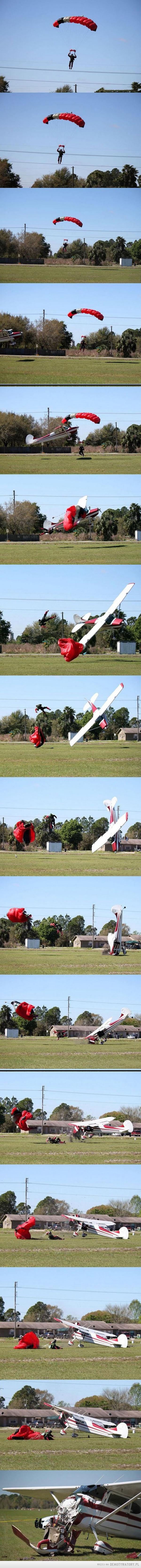 Zderzenie spadochroniarza oraz samolotu... nieoczekiwanie wszyscy przeżyli –
