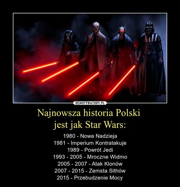 Najnowsza historia Polski jest jak Star Wars: – 1980 - Nowa Nadzieja1981 - Imperium Kontratakuje1989 - Powrót Jedi1993 - 2005 - Mroczne Widmo2005 - 2007 - Atak Klonów2007 - 2015 - Zemsta Sithów2015 - Przebudzenie Mocy