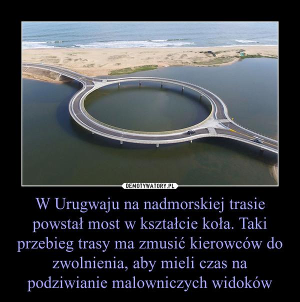 W Urugwaju na nadmorskiej trasie powstał most w kształcie koła. Taki przebieg trasy ma zmusić kierowców do zwolnienia, aby mieli czas na podziwianie malowniczych widoków –