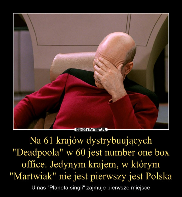 """Na 61 krajów dystrybuujących """"Deadpoola"""" w 60 jest number one box office. Jedynym krajem, w którym """"Martwiak"""" nie jest pierwszy jest Polska – U nas """"Planeta singli"""" zajmuje pierwsze miejsce"""