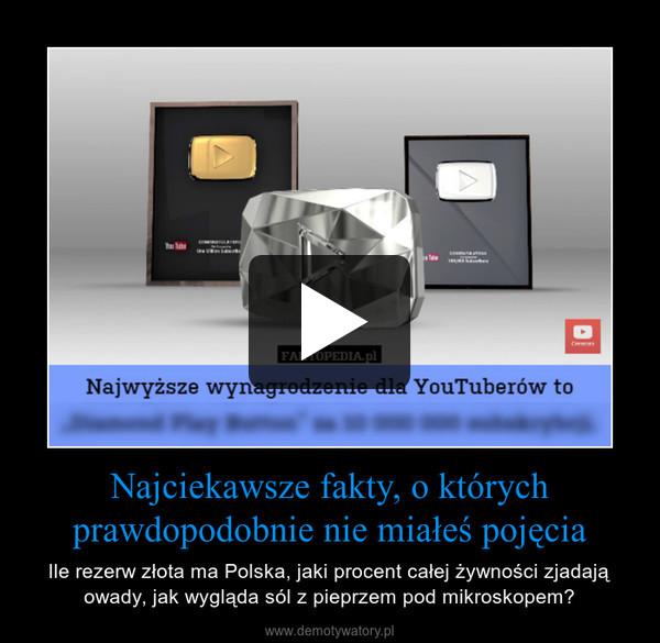 Najciekawsze fakty, o którychprawdopodobnie nie miałeś pojęcia – Ile rezerw złota ma Polska, jaki procent całej żywności zjadają owady, jak wygląda sól z pieprzem pod mikroskopem?