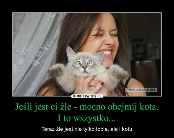 Jeśli jest ci źle - mocno obejmij kota.I to wszystko... – Teraz źle jest nie tylko tobie, ale i kotu