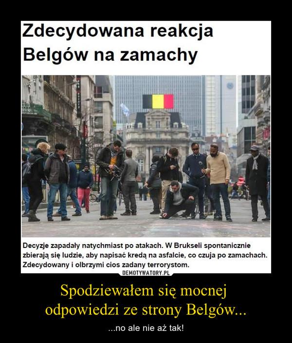 Spodziewałem się mocnej odpowiedzi ze strony Belgów... – ...no ale nie aż tak!