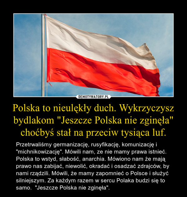 """Polska to nieulękły duch. Wykrzyczysz bydlakom """"Jeszcze Polska nie zginęła"""" choćbyś stał na przeciw tysiąca luf. – Przetrwaliśmy germanizację, rusyfikację, komunizację i """"michnikowizację"""". Mówili nam, ze nie mamy prawa istnieć. Polska to wstyd, słabość, anarchia. Mówiono nam że mają prawo nas zabijać, niewolić, okradać i osadzać zdrajców, by nami rządzili. Mówili, że mamy zapomnieć o Polsce i służyć silniejszym. Za każdym razem w sercu Polaka budzi się to samo.  """"Jeszcze Polska nie zginęła""""."""