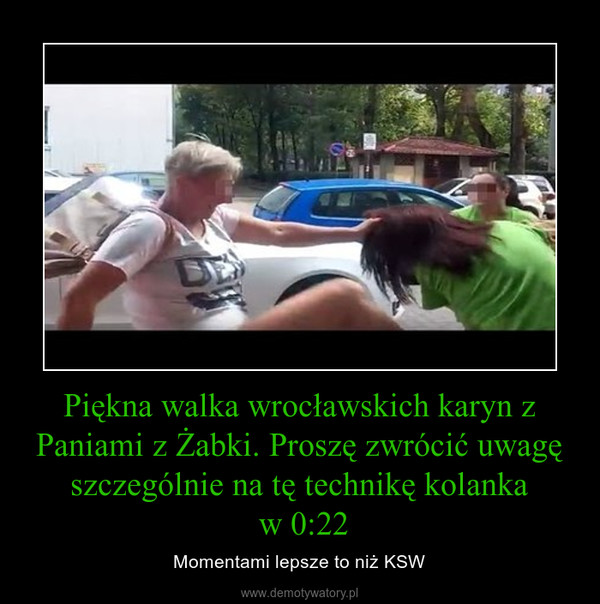 Piękna walka wrocławskich karyn z Paniami z Żabki. Proszę zwrócić uwagę szczególnie na tę technikę kolanka w 0:22 – Momentami lepsze to niż KSW