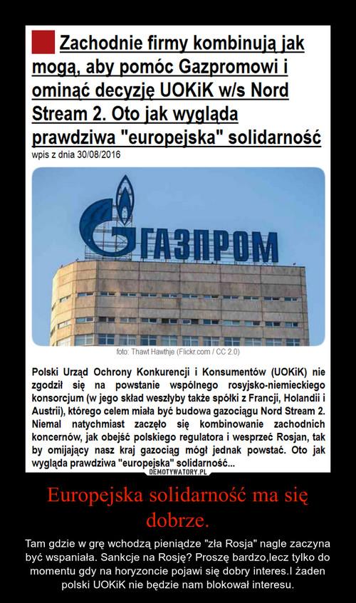 Europejska solidarność ma się dobrze.
