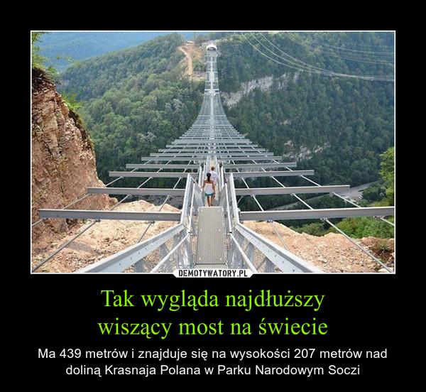 Tak wygląda najdłuższywiszący most na świecie – Ma 439 metrów i znajduje się na wysokości 207 metrów nad doliną Krasnaja Polana w Parku Narodowym Soczi