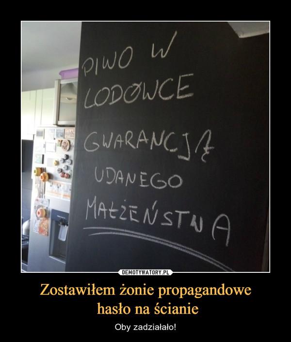 Zostawiłem żonie propagandowe hasło na ścianie – Oby zadziałało! PIWO W LODÓWCE GWARANCJĄ UDANEGO MAŁŻEŃSTWA