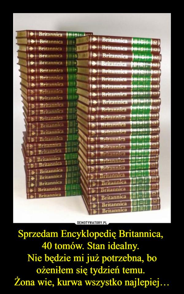 Sprzedam Encyklopedię Britannica, 40 tomów. Stan idealny. Nie będzie mi już potrzebna, boożeniłem się tydzień temu. Żona wie, kurwa wszystko najlepiej… –