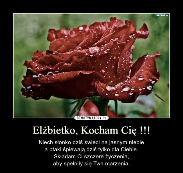 Elżbietko, Kocham Cię !!! – Niech słonko dziś świeci na jasnym niebiea ptaki śpiewają dziś tylko dla Ciebie.Składam Ci szczere życzenia,aby spełniły się Twe marzenia.