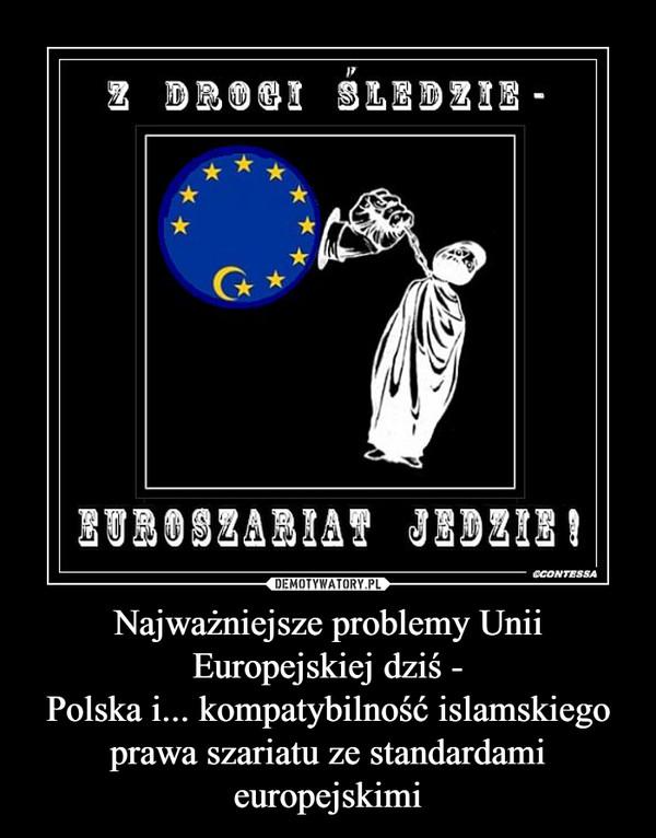Najważniejsze problemy Unii Europejskiej dziś -Polska i... kompatybilność islamskiego prawa szariatu ze standardami europejskimi –