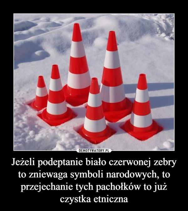 Jeżeli podeptanie biało czerwonej zebry to zniewaga symboli narodowych, to przejechanie tych pachołków to już czystka etniczna –