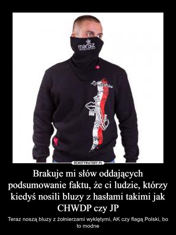 Brakuje mi słów oddających podsumowanie faktu, że ci ludzie, którzy kiedyś nosili bluzy z hasłami takimi jak CHWDP czy JP – Teraz noszą bluzy z żołnierzami wyklętymi, AK czy flagą Polski, bo to modne