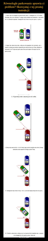 –  1. Ustaw się równolegle do samochodu obok w odległości ok. 0.5 metra.Pamiętaj, aby tylni zderzak Twojego auta znalazł się dokładnie w tej samejlinii, co zderzak sąsiada. Następnie kręć kierownicą do oporu w prawo.2. Mając tak ustawione koła. cofaj powoli pojazdem do momentu, aż wlusterku zobaczysz tablice rejestracyjne samochodu za Tobą. Będzie tooznaczać, że Twoje auto jest ustawione pod kątem 45 stopni do liniiparkowania.3. Wyprostuj kota i zacznij powoli cofać.4. Zatrzymaj samochód w chwili kiedy jego przód znajdzie się obok tylnegozderzaka auta zaparkowanego przed Tobą.5. Następnie kręć kierownicą w lewo. aż koła będą skręcone do oporu.6. W takim ustawieniu cofaj powoli, aż samochód znajdzie się w pozycjirównoległej do linii parkowania. Gotowe!