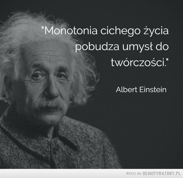 Albert Einstein –  Monotonia cichego życia pobudza umysł do twórczości Albert Einstein
