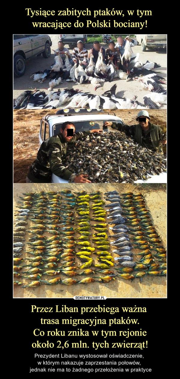 Przez Liban przebiega ważna trasa migracyjna ptaków. Co roku znika w tym rejonie około 2,6 mln. tych zwierząt! – Prezydent Libanu wystosował oświadczenie, w którym nakazuje zaprzestania połowów,  jednak nie ma to żadnego przełożenia w praktyce