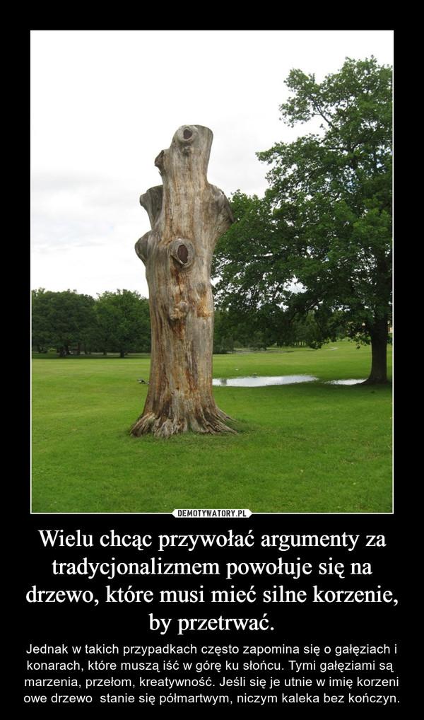 Wielu chcąc przywołać argumenty za tradycjonalizmem powołuje się na drzewo, które musi mieć silne korzenie, by przetrwać. – Jednak w takich przypadkach często zapomina się o gałęziach i konarach, które muszą iść w górę ku słońcu. Tymi gałęziami są  marzenia, przełom, kreatywność. Jeśli się je utnie w imię korzeni owe drzewo  stanie się półmartwym, niczym kaleka bez kończyn.