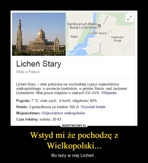 Wstyd mi że pochodzę z Wielkopolski... – Bo leży w niej Licheń .