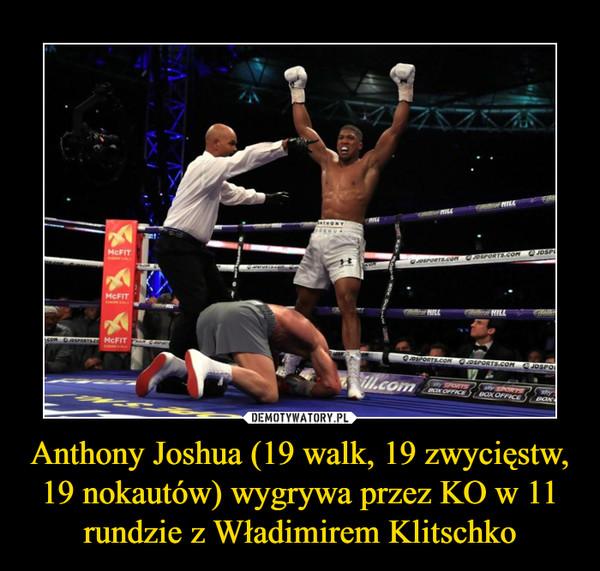 Anthony Joshua (19 walk, 19 zwycięstw, 19 nokautów) wygrywa przez KO w 11 rundzie z Władimirem Klitschko –
