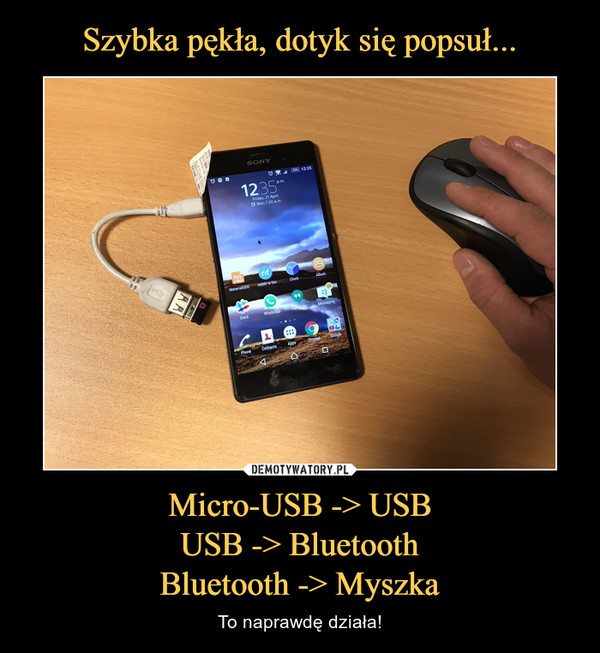 Micro-USB -> USBUSB -> BluetoothBluetooth -> Myszka – To naprawdę działa!
