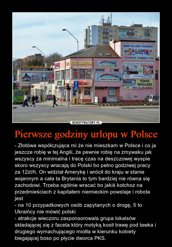 Pierwsze godziny urlopu w Polsce – - Złotówa współczująca mi że nie mieszkam w Polsce i co ja jeszcze robię w tej Anglii, że pewnie robię na zmywaku jak wszyscy za minimalna i tracę czas na deszczowej wyspie skoro wszyscy wracają do Polski bo pełno godziwej pracy za 12zl/h. On widział Amerykę i wrócił do kraju w stanie wojennym a cała ta Brytania to tym bardziej nie równa się zachodowi. Trzeba ogólnie wracać bo jakiś kołchoz na przedmieściach z kapitałem niemieckim powstaje i robota jest- na 10 przypadkowych osób zapytanych o drogę, 5 to Ukraińcy nie mówić polski- atrakcje wieczoru zasponsorowala grupa lokalsów składającej się z faceta który motyką kosił trawę pod ławka i drugiego wymachującego miotła w kierunku kobiety biegającej boso po płycie dworca PKS.