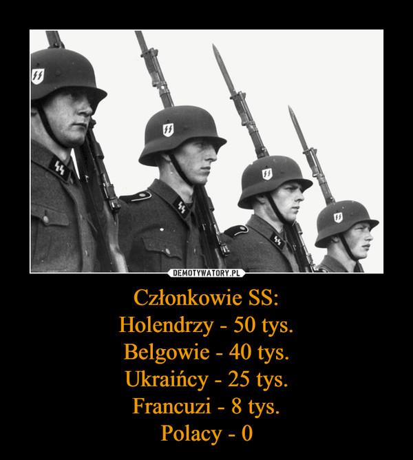 Członkowie SS:Holendrzy - 50 tys.Belgowie - 40 tys.Ukraińcy - 25 tys.Francuzi - 8 tys.Polacy - 0 –