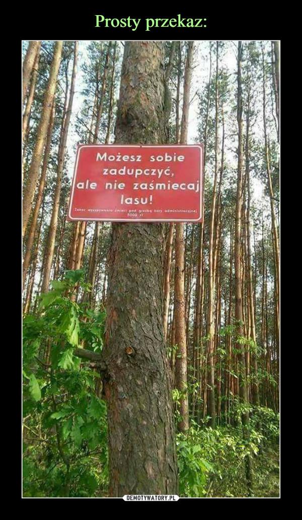 –  Możesz sobie zadupczyć, ale nie zaśmiecaj lasu!