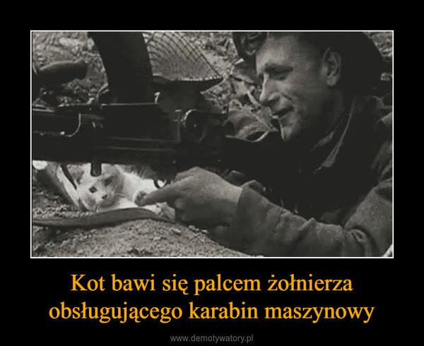 Kot bawi się palcem żołnierza obsługującego karabin maszynowy –